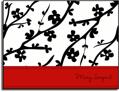 RED CHERRY BLOSSOM FOLDED NOTE CARDS